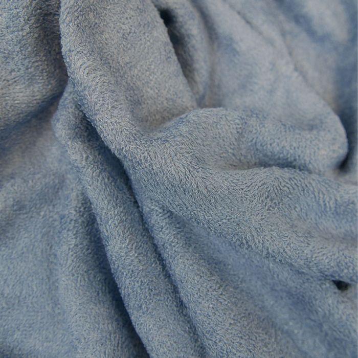 Tissu éponge bambou Oeko-Tex - bleu x 10 cm