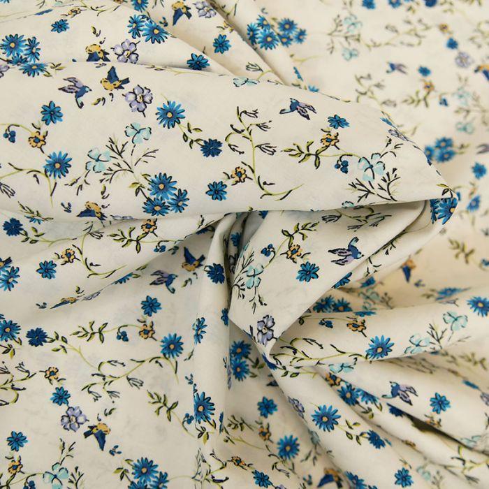 Tissu batiste coton oiseaux - bleu x 10 cm