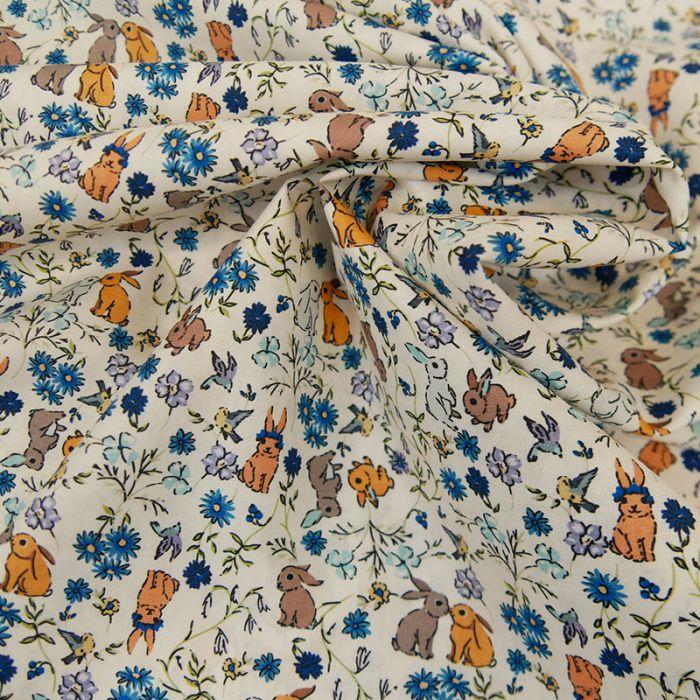 Tissu batiste coton lapins - bleu x 10 cm