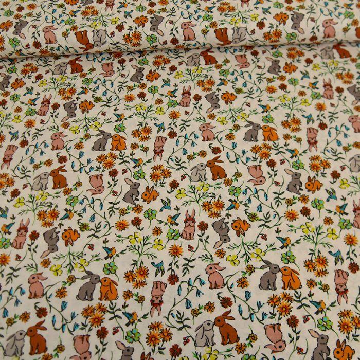 Tissu batiste coton lapins - multicolore x 10 cm