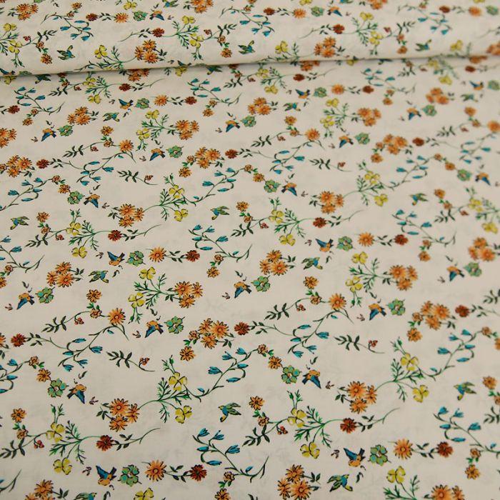Tissu batiste coton oiseaux - orange x 10 cm
