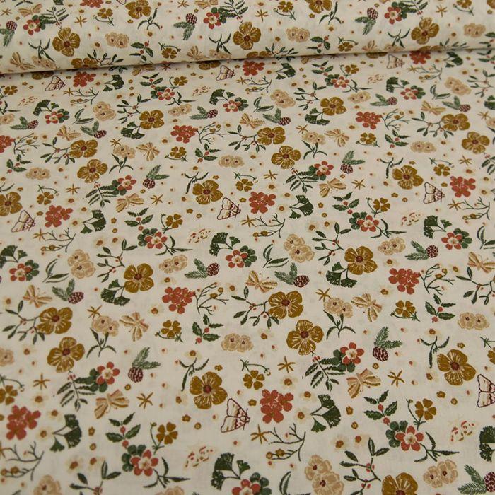 Tissu popeline coton papillons - marron x 10cm
