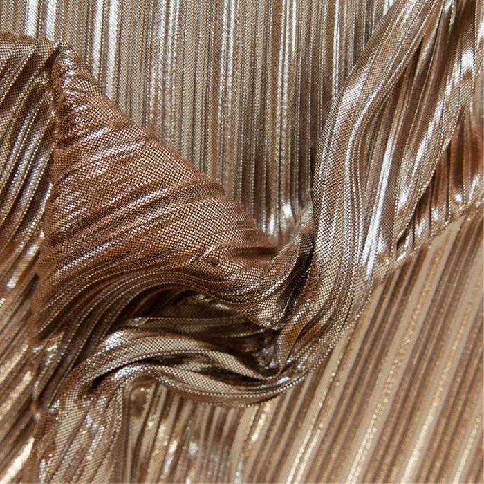Tissu plissé - marron glacé paillettes x 10 cm