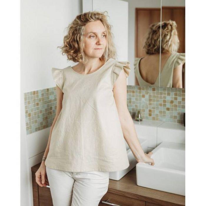 Kit blouse Yzé - lin lamé - P&M (patron + tissus)