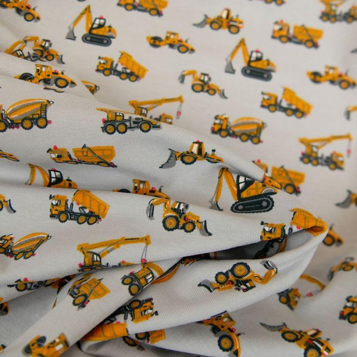 Tissu jersey tracteurs - gris x 10 cm