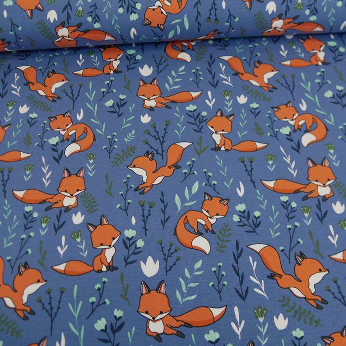 Tissu jersey renards - bleu x 10 cm