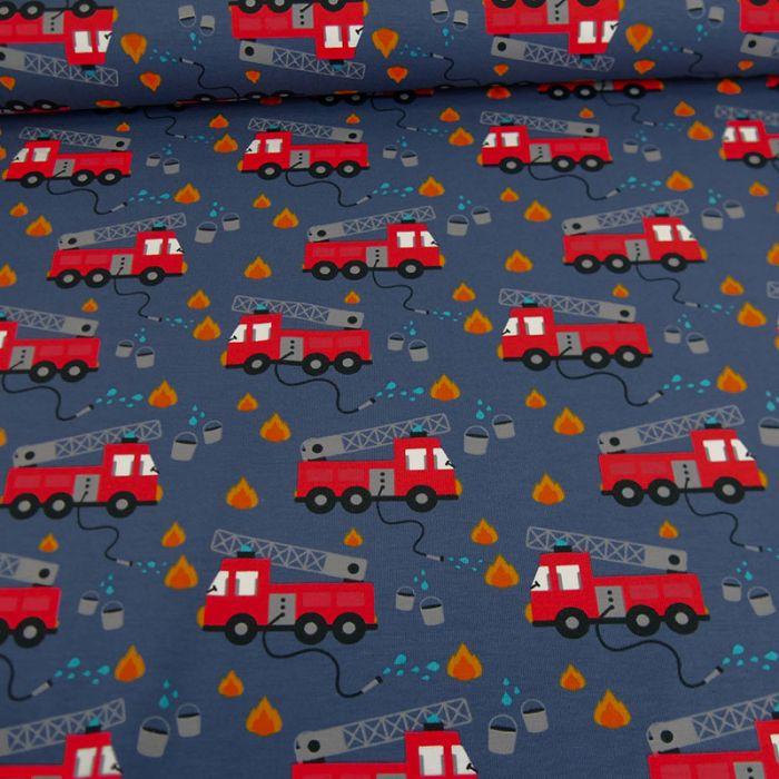 Tissu jersey camions pompiers - bleu x 10 cm