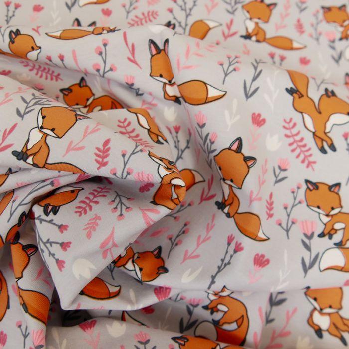 Tissu jersey renards - gris x 10 cm