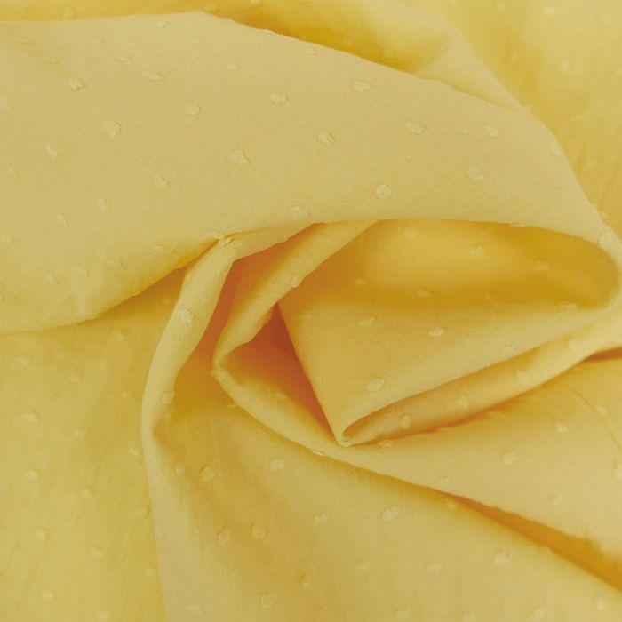 Tissu voile coton plumetis - jaune clair x 10 cm