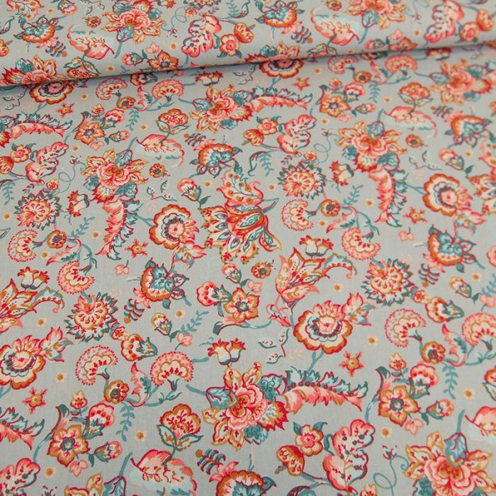 Tissu coton fleurs roses bleues - Poppy x 10 cm