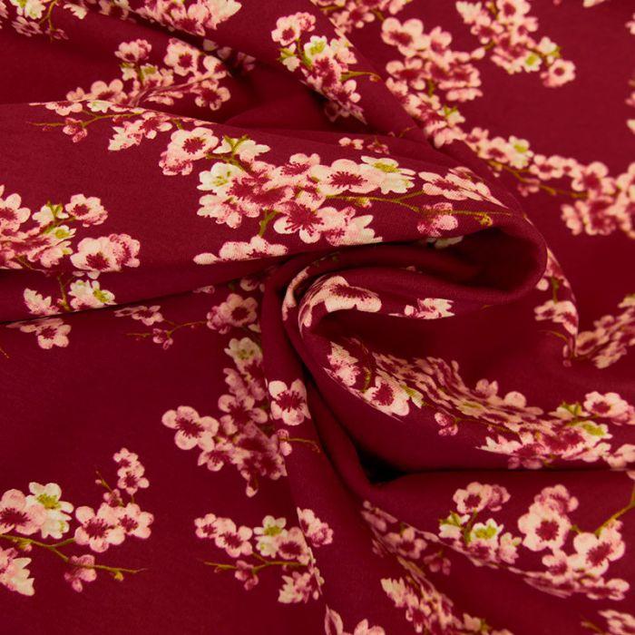 Tissu jersey gratté bio fleurs japonaises - rouge x 10 cm
