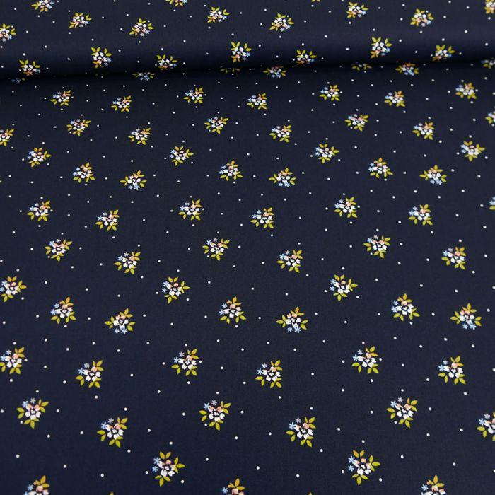Tissu coton bouquets fleurs marine - Poppy x 10 cm