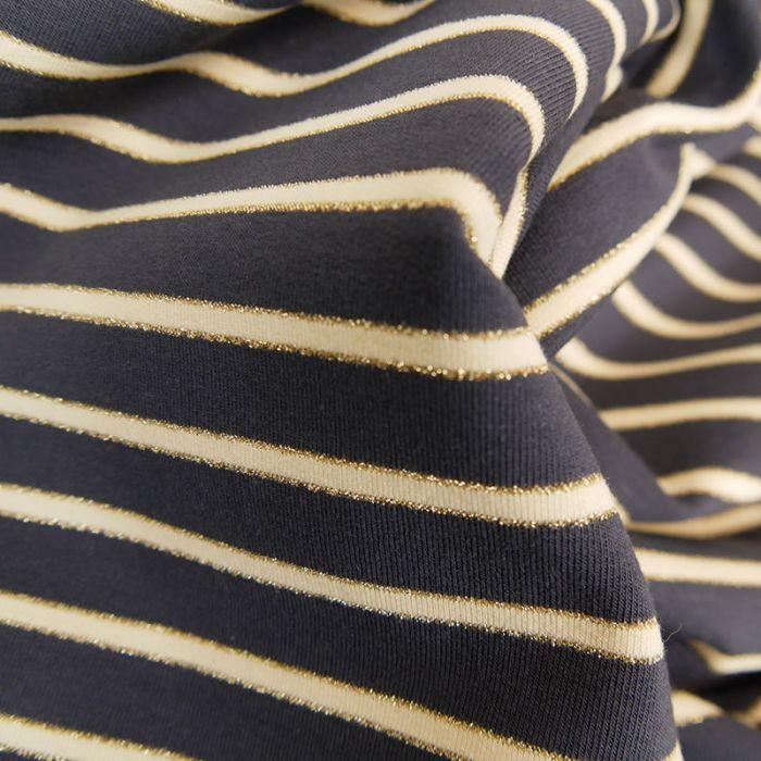 Tissu jersey marinière lurex - bleu foncé x 10 cm