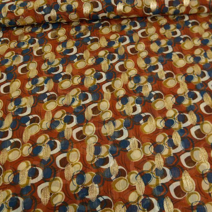 Tissu pois lurex - terracotta x 10 cm