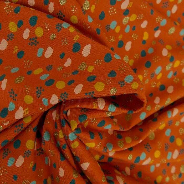 Tissu jersey fin pois glitter - rouille x 10 cm