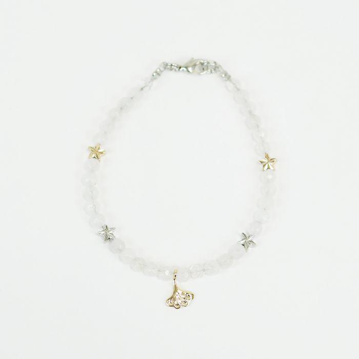Kit : Bracelet quartz rose et feuille ginkgo