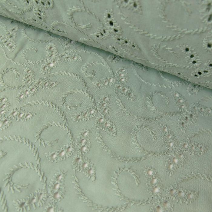 Tissu broderie anglaise vert de gris - France Duval Stalla x 10 cm