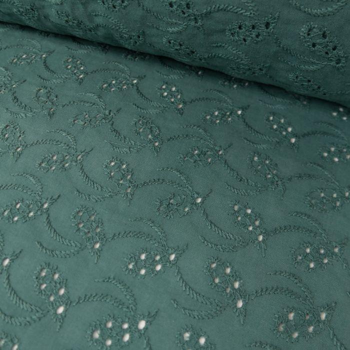 Tissu broderie anglaise eucalyptus - France Duval Stalla x 10 cm