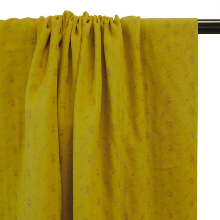 Tissu double gaze fleurs doré jaune - France Duval Stalla x 10 cm