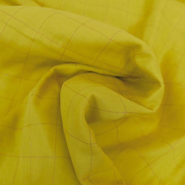 Tissu double gaze carreaux doré jaune - France Duval Stalla x 10 cm