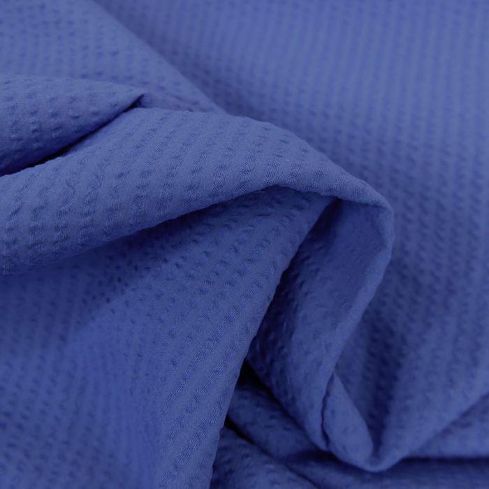 Tissu seersucker coton bleu roi - France Duval Stalla x 10 cm