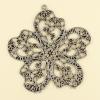 Pendentif fleur 55mm argent vieilli x1