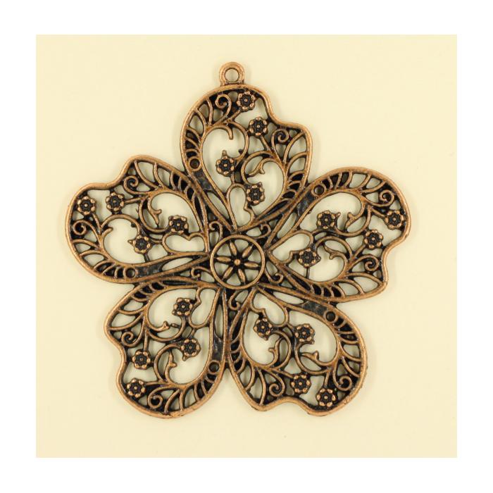 Pendentif fleur 55mm cuivre x1