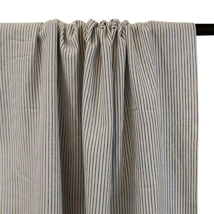 Tissu lin coton rayures bleu blanc - France Duval Stalla x 10 cm