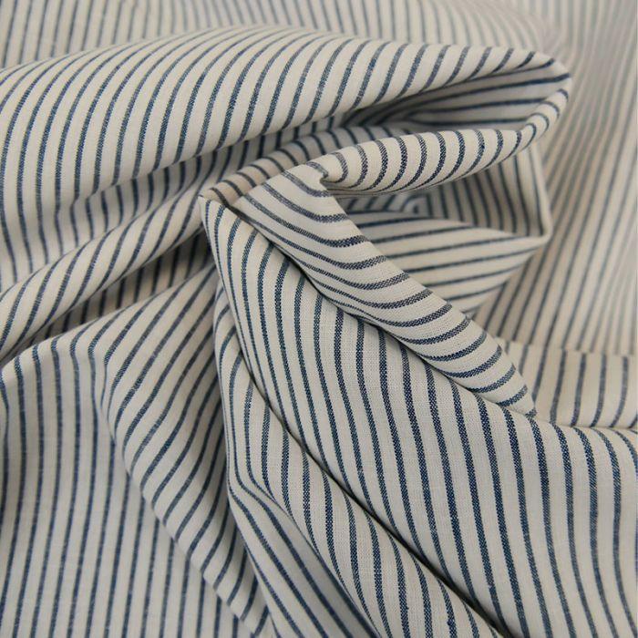 Tissu coton rayures bleu blanc - France Duval Stalla x 10 cm