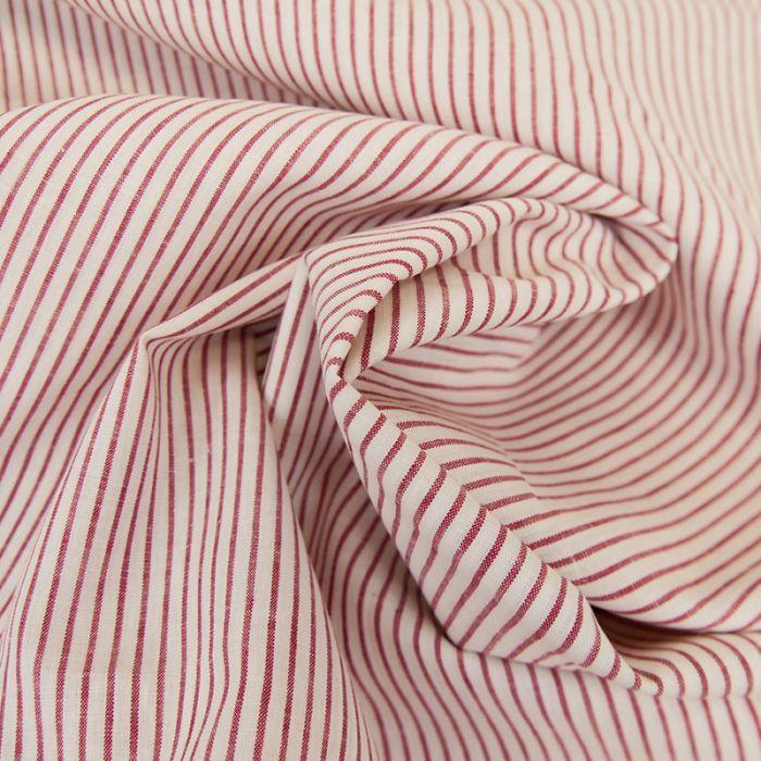 Tissu lin coton rayures rouge blanc - France Duval Stalla x 10 cm