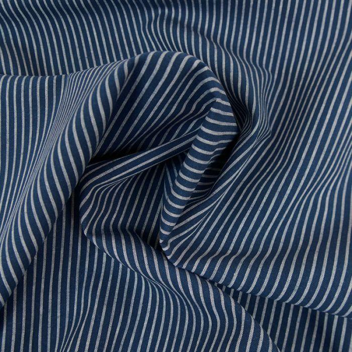 Tissu coton rayures bleu - France Duval Stalla x 10 cm