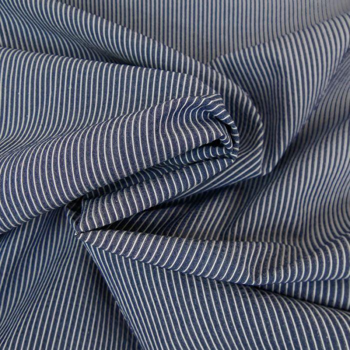 Tissu seersucker coton rayures denim - France Duval Stalla x 10 cm
