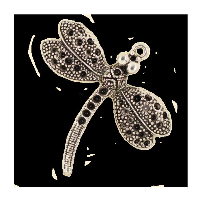 Pendentif libellule 37mm argent x1