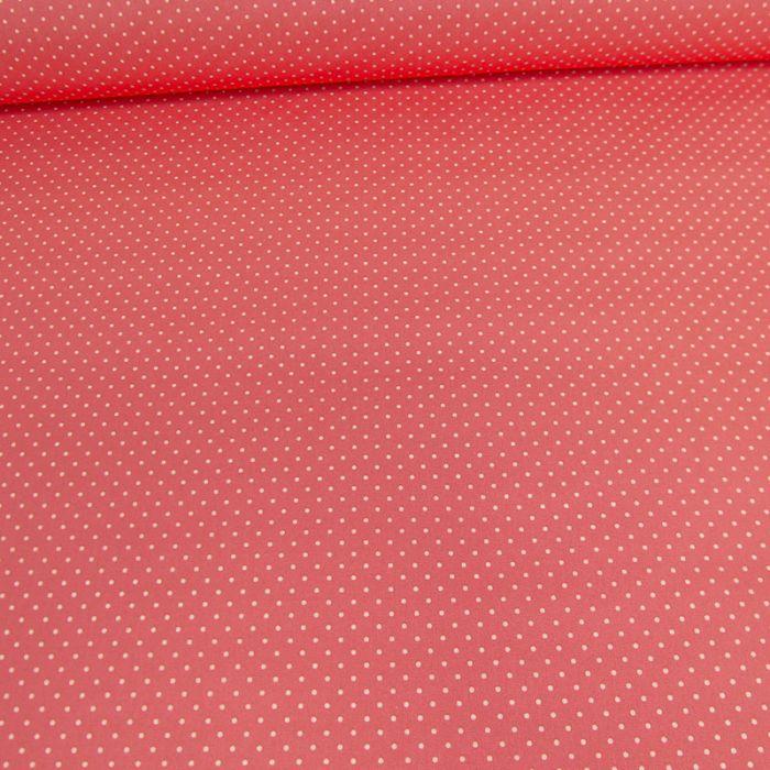 Tissu coton enduit dots - corail x 10 cm