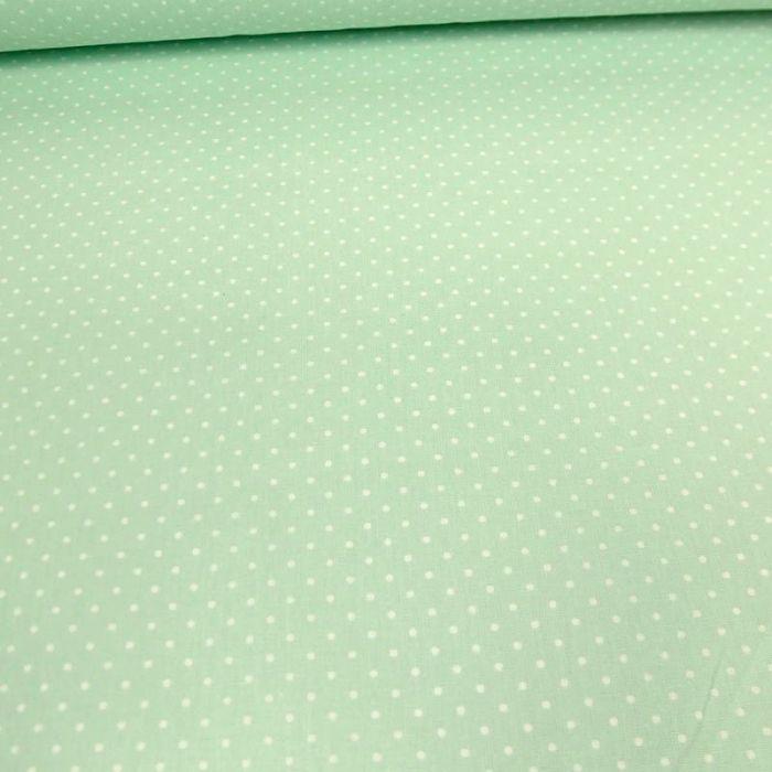 Tissu coton enduit dots - mint x 10 cm