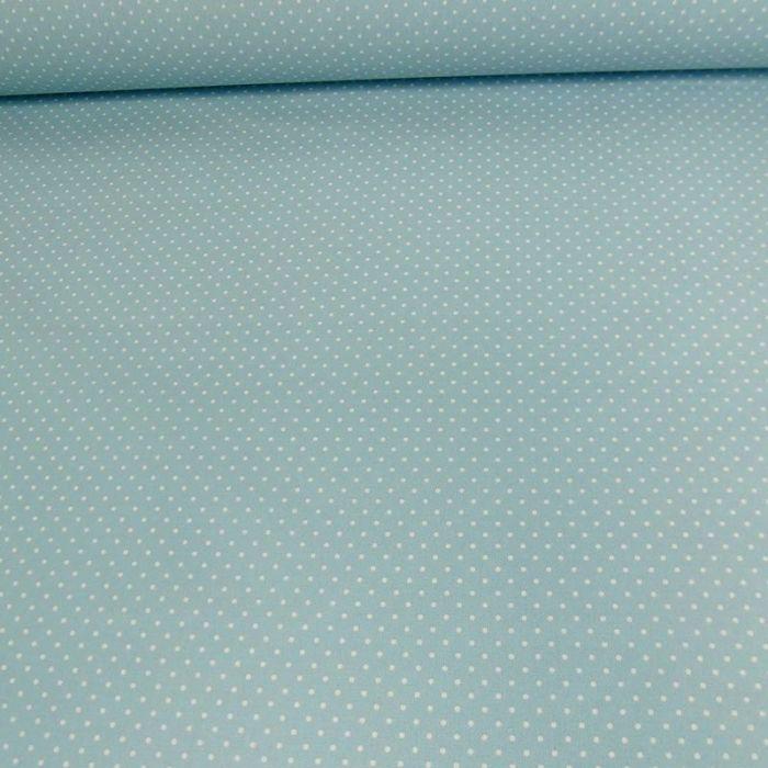 Tissu coton enduit dots - bleu clair x 10 cm