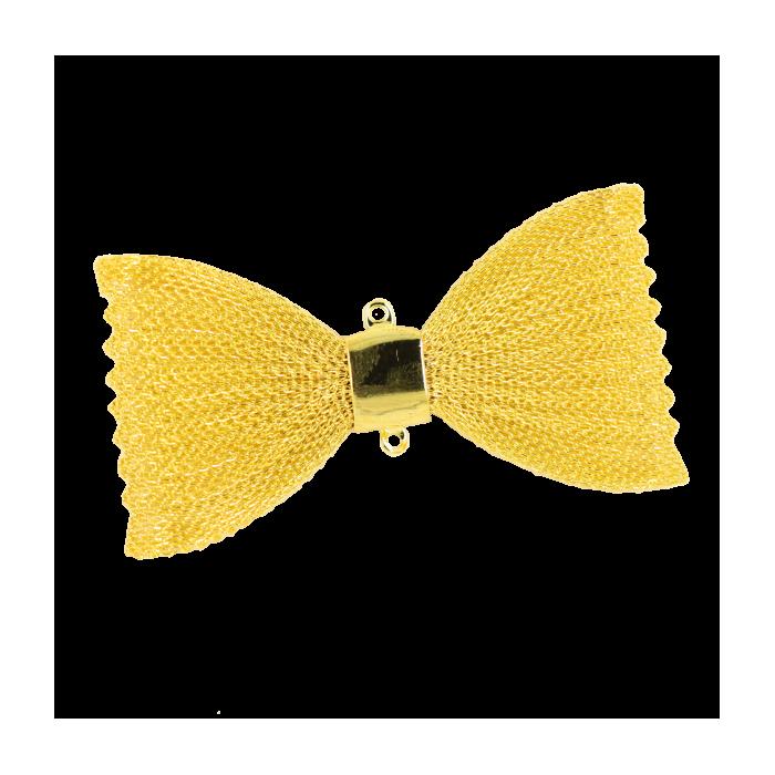 Pendentif résille noeud papillon 67mm doré x1