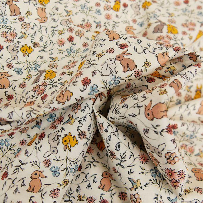 Tissu batiste coton lapins - moutarde x 10 cm