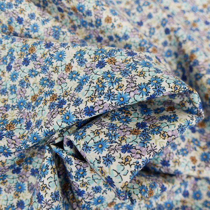 Tissu batiste coton paquerettes - bleu x 10 cm