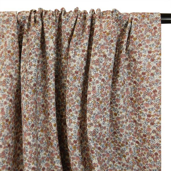 Tissu batiste coton paquerettes - vieux rose x 10 cm