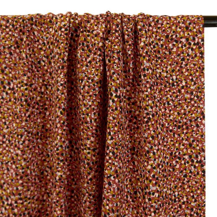 Coupon tissu viscose pépites terracotta - 70 X 140 cm