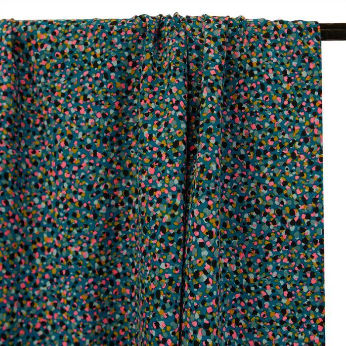 Tissu viscose pépites - lagon x 10 cm