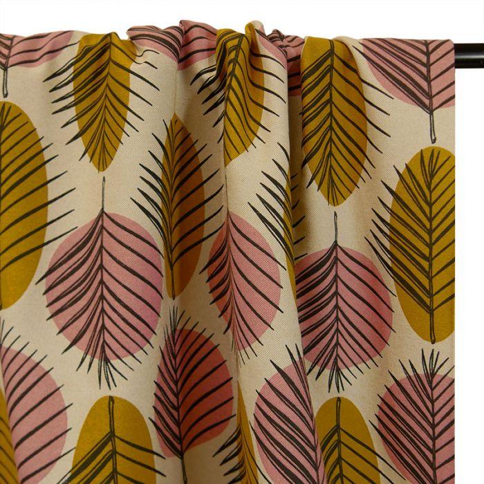 Tissu coton natté palmes - moutarde x 10 cm