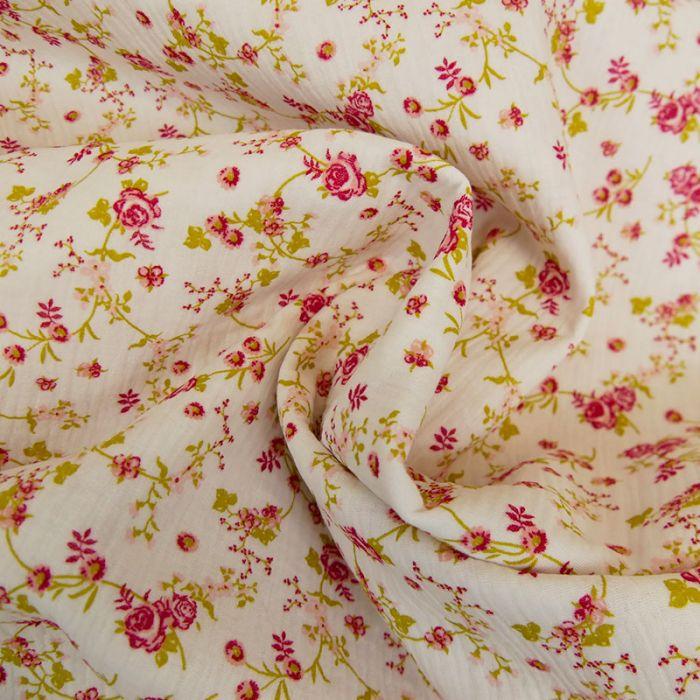 Tissu double gaze petites roses - blanc x 10cm