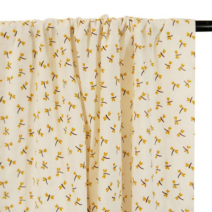 Tissu coton lavé libellules moutarde - blanc x 10 cm
