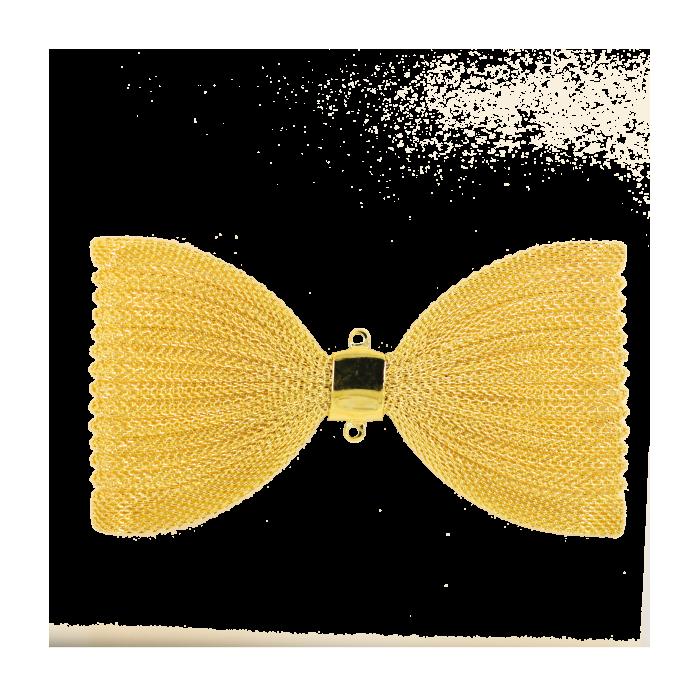 Pendentif résille noeud papillon 91mm doré x1