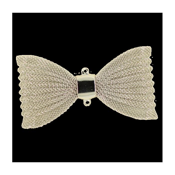 Pendentif résille noeud papillon 67mm argent x1
