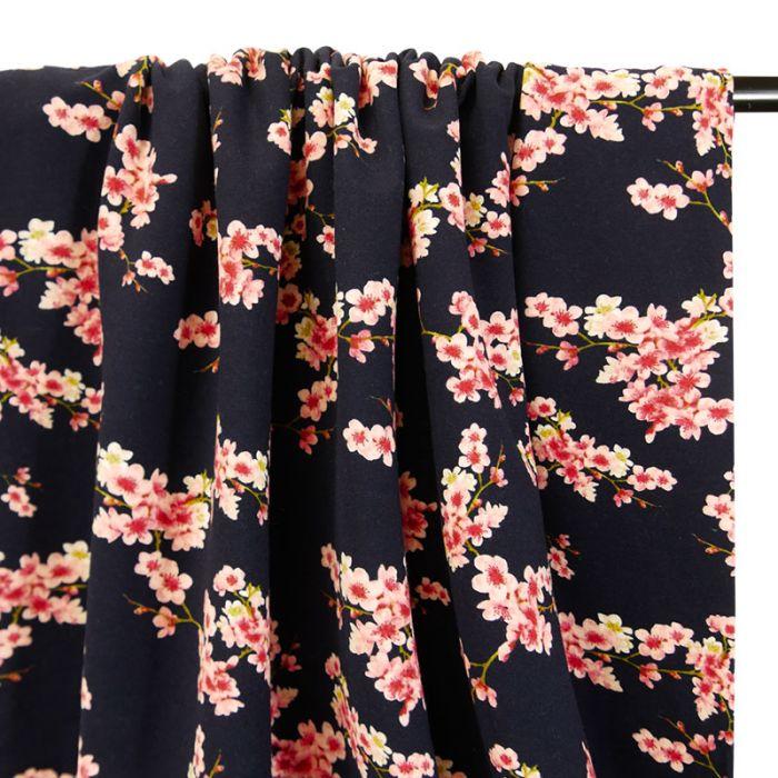 Tissu jersey gratté bio fleurs japonaises - marine x 10 cm