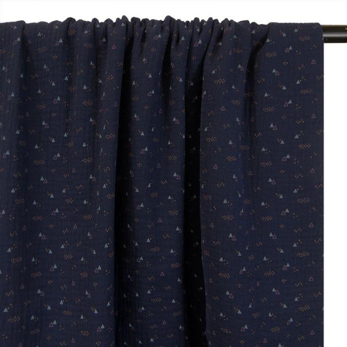 Tissu double gaze petits triangles - marine x 10cm
