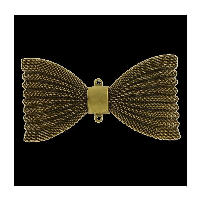 Pendentif résille noeud papillon 67mm bronze x1